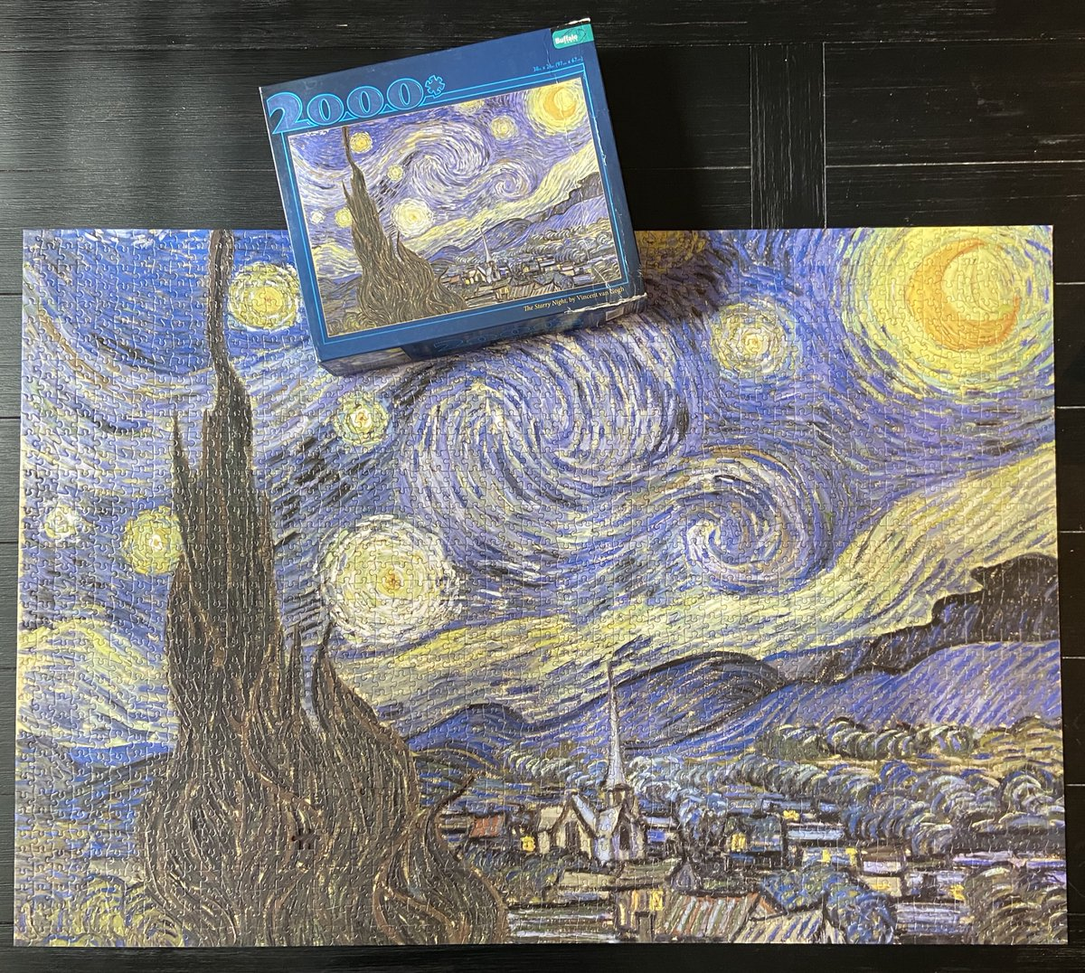 test Twitter Media - Finally finished The Starry Night (@buffalopuzzler), which we started at the end of March 2020.  We lost one piece along the way, but we left it on the table for eight weeks and we vacuum constantly, so I'm not surprised. Soon the kitchen table will be usable again... —WEM https://t.co/yPHiYzMlEd