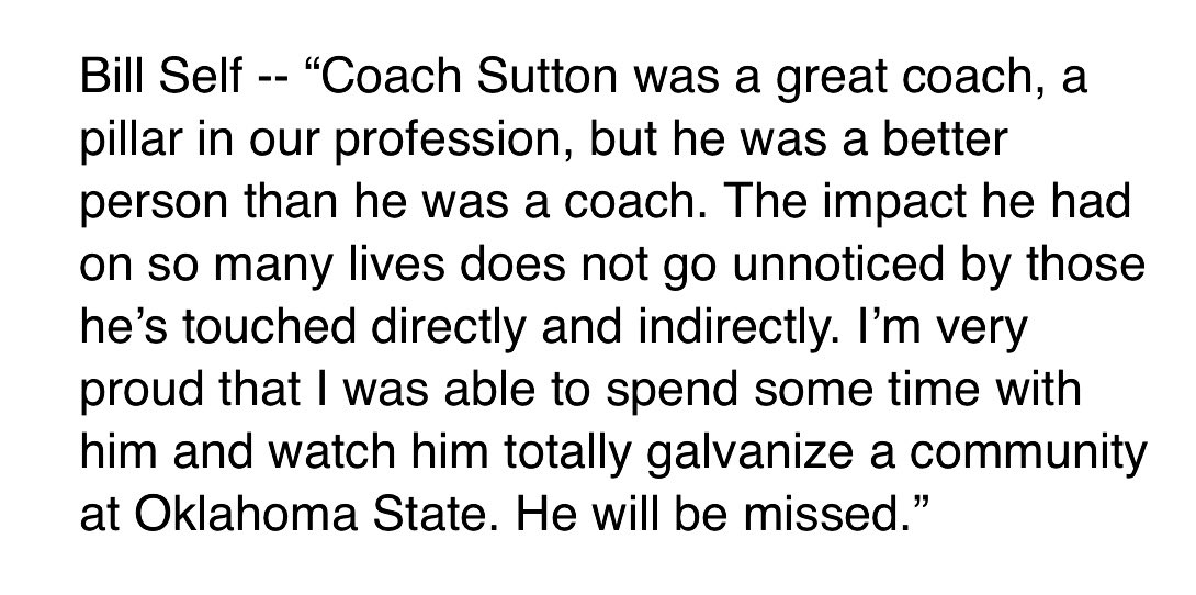 #KUbball coach Bill Self on the passing of Eddie Sutton... <br>http://pic.twitter.com/SiswOfQyhU