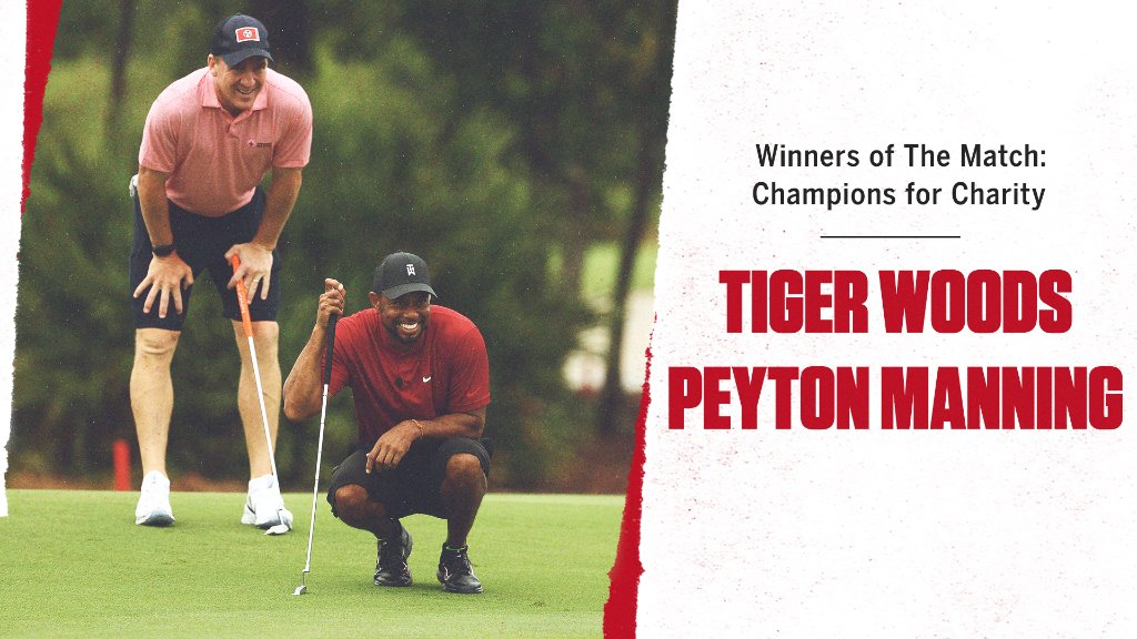 Bragging rights for @TigerWoods and Peyton Manning! An entertaining round of golf and all proceeds will benefit coronavirus relief 🙌