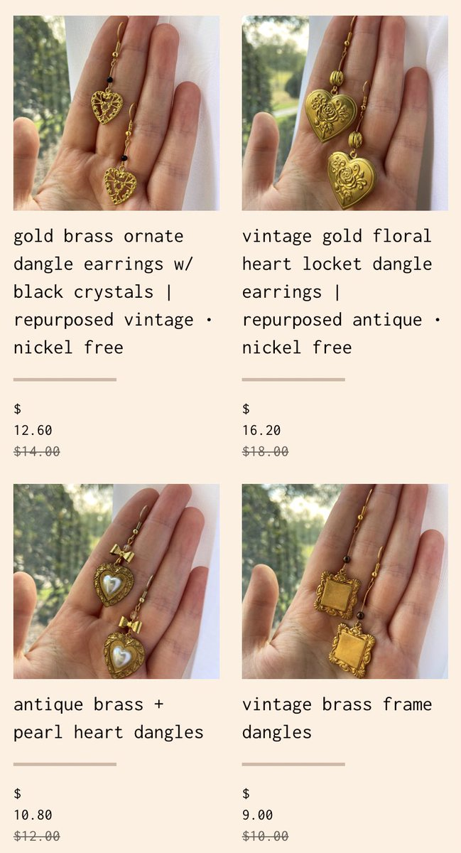 SALE!   this is a suuuper rare occasion but old styles are now 10% off! these & even more!!    includes repurposed vintage, dangly styles & studs!   both on etsy & on my website  http:// nectar.jewelry      pls RT<br>http://pic.twitter.com/BxV0kNpWx1