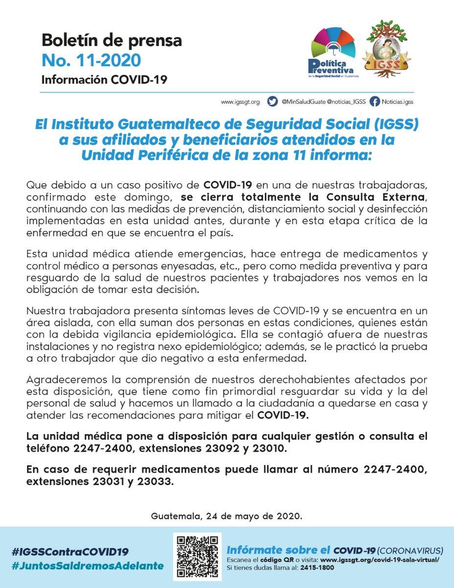 test Twitter Media - El IGSS confirma un caso positivo de COVID-19 en la Unidad Periférica de la zona 11.👇🏼 https://t.co/OZ8v0Uyf1j
