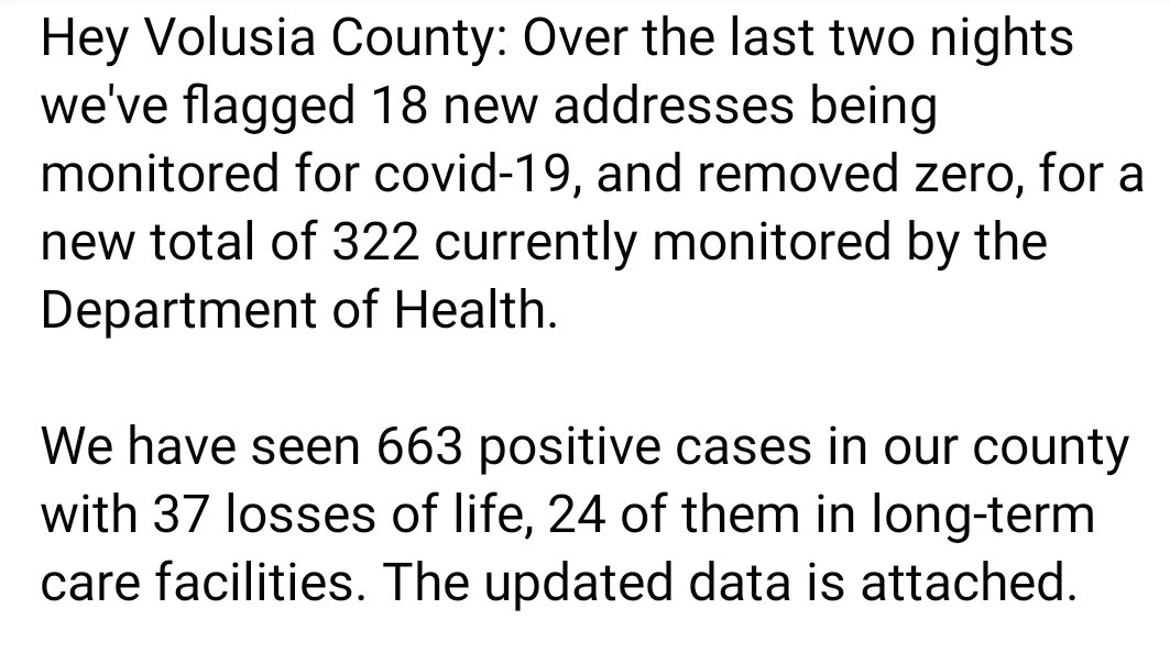 Our latest covid-19 numbers for Volusia County are attached along with a message for the Monday morning quarterbacks. https://t.co/8sho3GUPy0