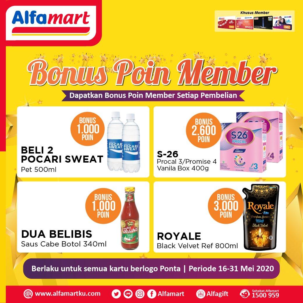 HARAP TENANG!!! Promo Bonus Poin Member menarik berikut ini di #Alfamart masih akan tetap hadir kok Sahabat. Belanja di #Alfamart terdekat jadi makin asik dan untung  Periode 16 - 31 Mei 2020 #AlfamartMelayaniIndonesia #AlfamartTerdekatAja #RamadhanDirumahAja #AlfamartPenuhRahmatpic.twitter.com/QKa6oK6mWa