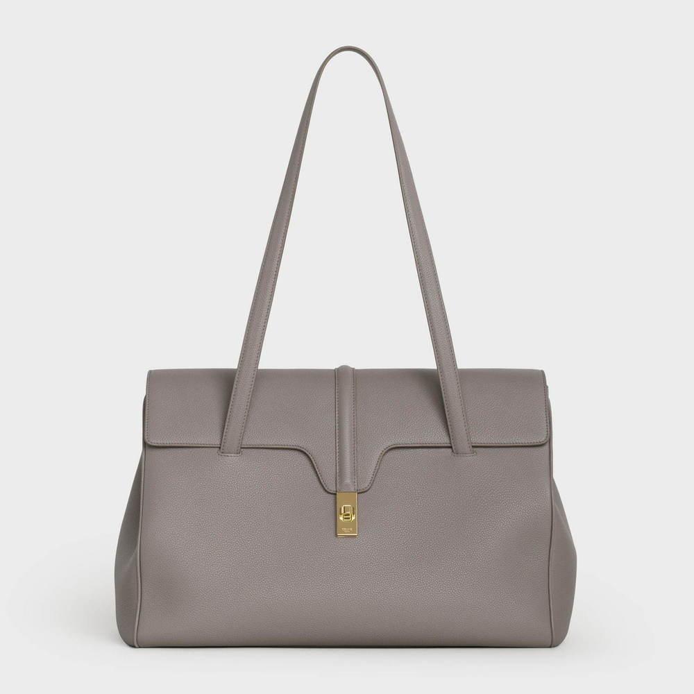 セリーヌ新作バッグ「16(セーズ) ソフト」柔らかなレザー&ゴールドのターンロックのハンドバッグ -
