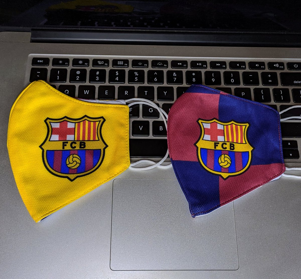 """In preparation for what would be the """"new normal""""... New fashion accessories for FCB fans like me.  #ForçaBarça #FCBarcelona https://t.co/Hl3ZlOPAiG"""