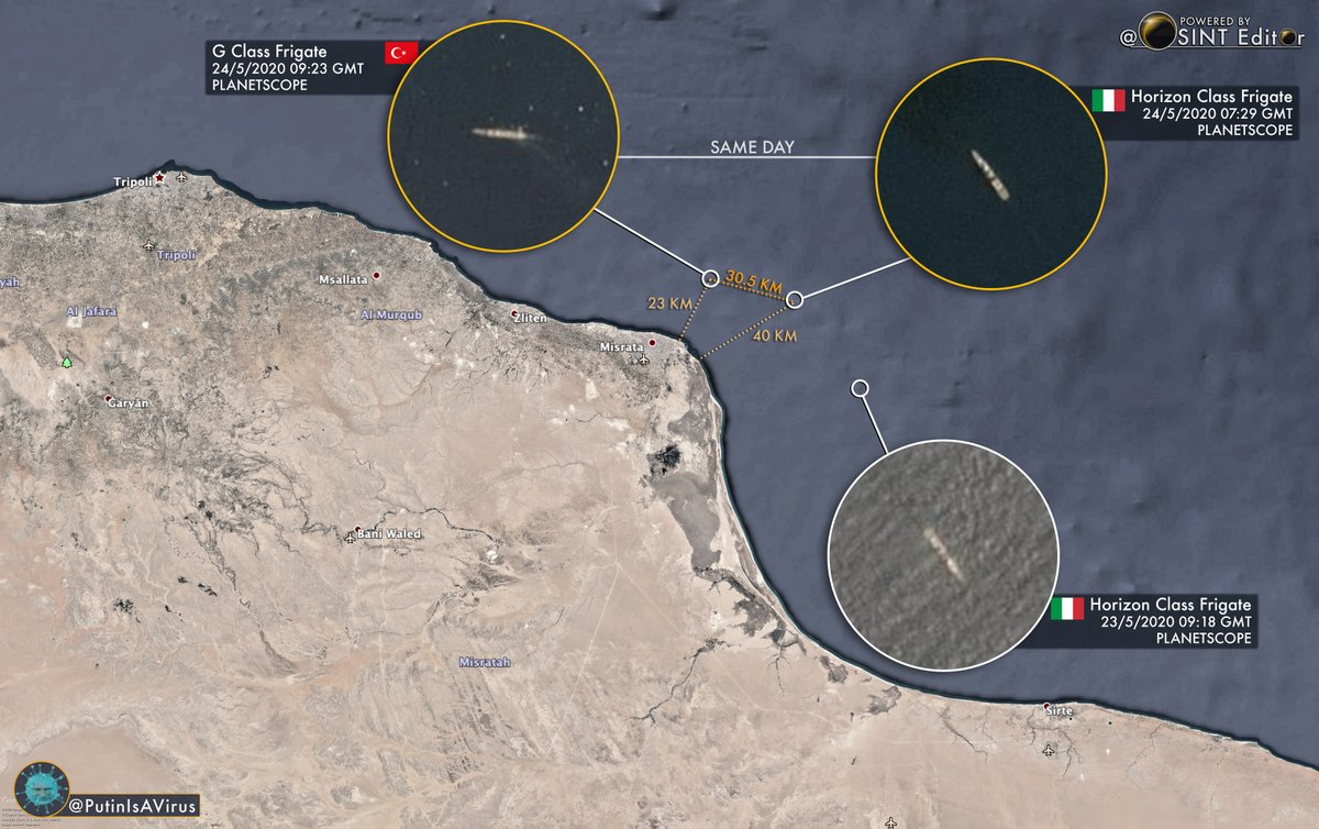 #Turkey G Class Frigate spotted farther East now just north of Misrata #Libya, operating in the same general area patrolled by #Italy frigates, in this case 1 Italian Horizon class vessel is on station. #OSINT #Navy @PutinIsAViruspic.twitter.com/fIxpl6mCUr