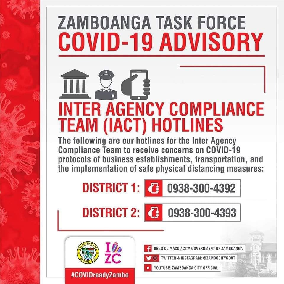 TF COVID19 ADVISORY: The following are our hotlines for the Inter Agency Compliance Team to receive concerns on Covid19 protocols of business establishments, transportation, and the implementation of safe physical distancing measures:  District 1 - 0938 … https://instagr.am/p/CAl7IgOpmun/pic.twitter.com/KGPZwAy34b