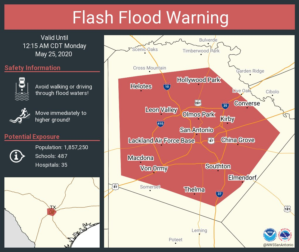 Flash Flood Warning including San Antonio TX, Converse TX, Leon Valley TX until 12:15 AM CDT