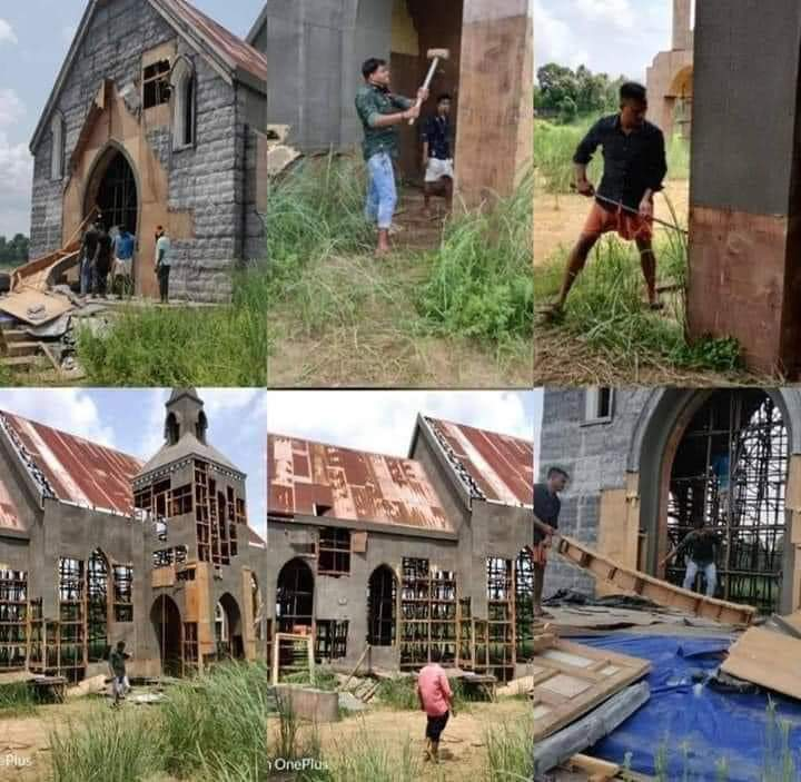 Rashtriya Baj Rang Dal in Kerala demolished a film shooting set alleging it was in the shape of a church, in front of Kaladi Mahadeva temple & celebrated the the same in social media. Be it Babri or a film set, these terrorists can think nothing but communalism.