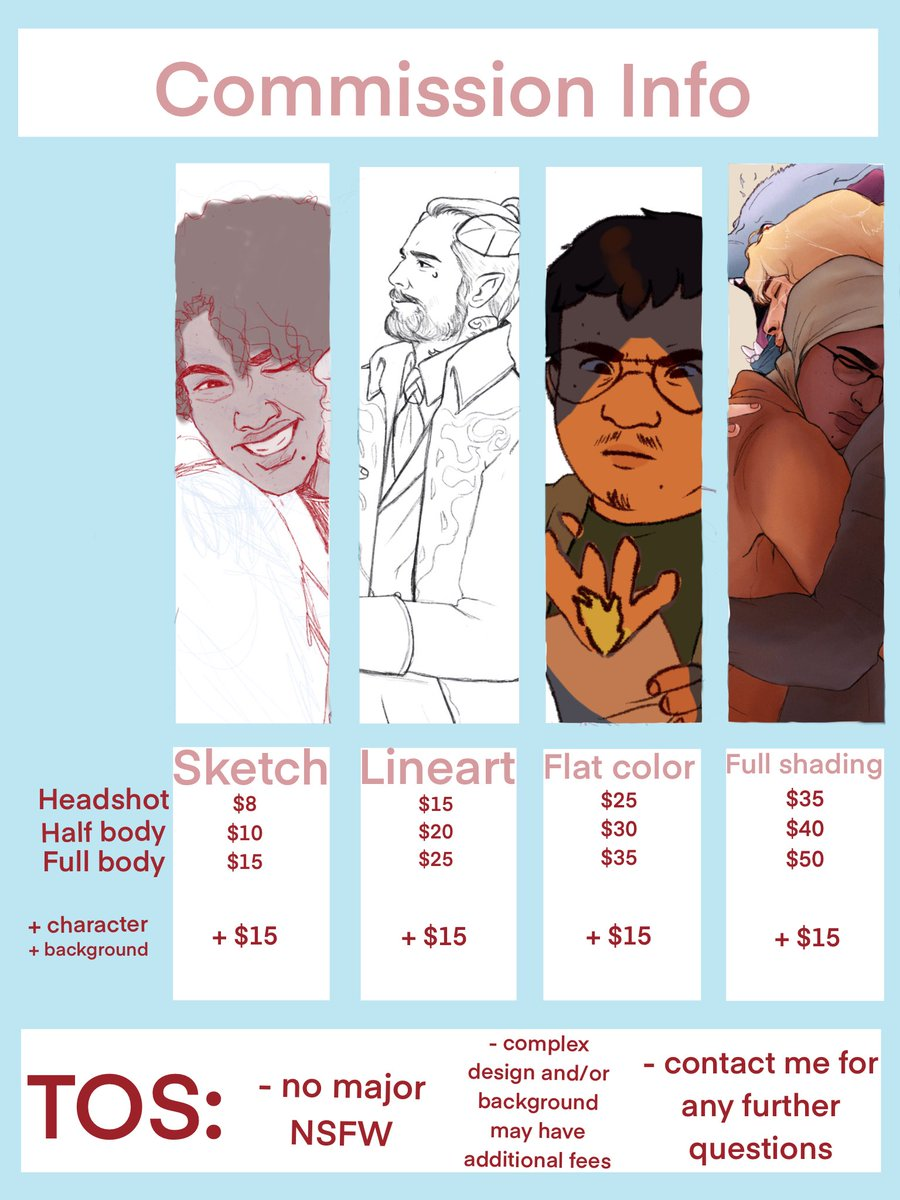COMMISSIONS OPEN! Howdy hey!! I'm moving to relocate for my new job, in order to cover moving fees Coms are back open!  If you're interested in something that isn't listed or have any further questions about content / prices feel free to DM me!  RTs Appreciated! <br>http://pic.twitter.com/NUuxYynuWj