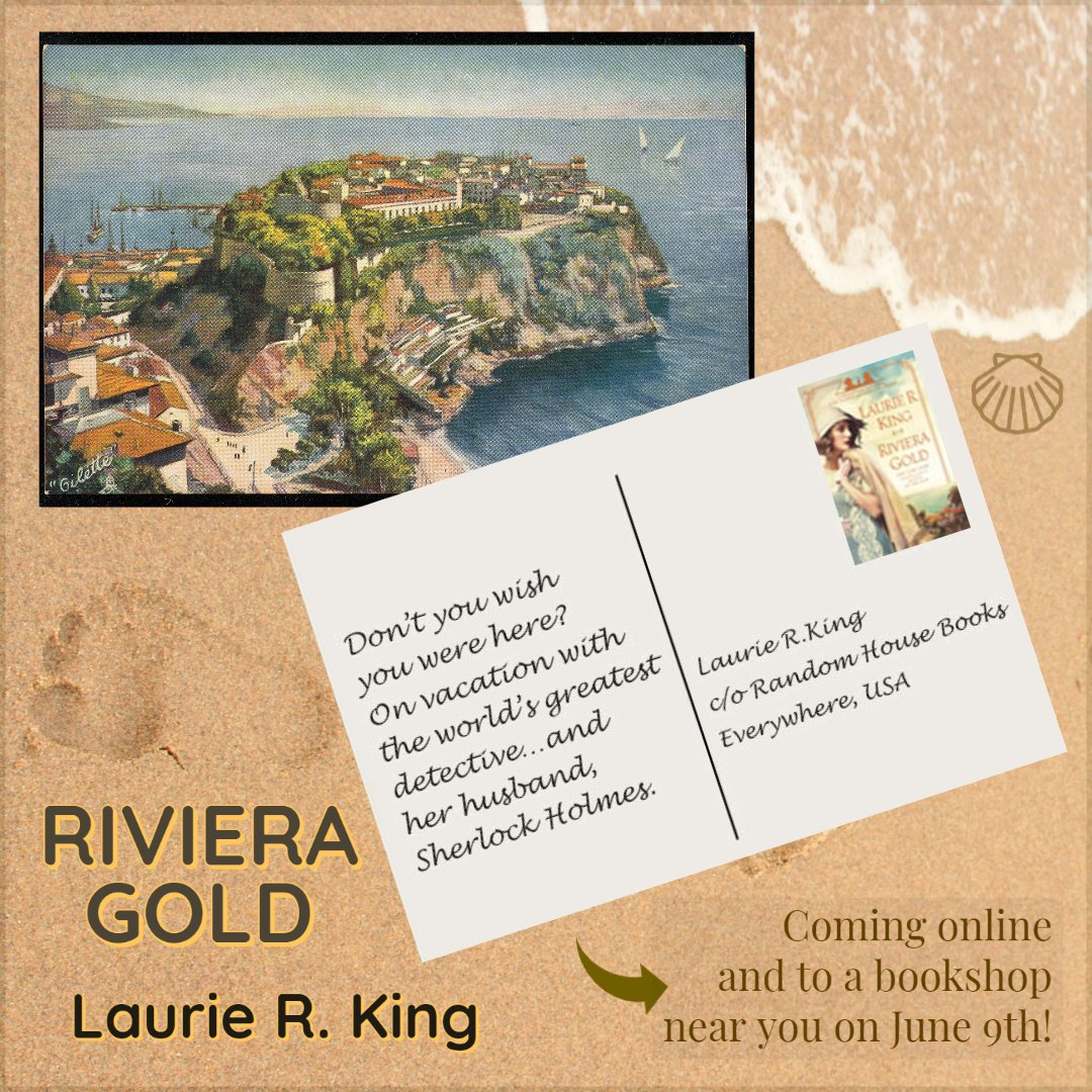 #RivieraGold by @LaurieRKing June 9, 2020! Follow #MaryRussell and #SherlockHolmes on an adventure to the #Riviera #CotedAzur #Monaco #MonteCarlo ...not just sun and fun, but also mingling with the rich and famous...and the world's largest arms dealer. pic.twitter.com/eg7b7Xzjj5
