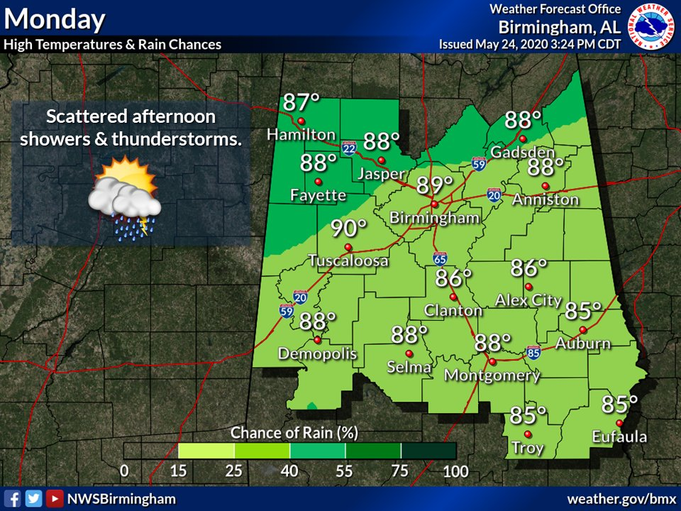 Look for scattered thunderstorms again on Memorial Day, best chances in the afternoon (of course). Highs will be in the mid/upper 80s for most. If on the AL/NW FL beaches, there is a High #RipCurrent risk! 🏖 Beach forecast -> weather.gov/beach/mob #alwx