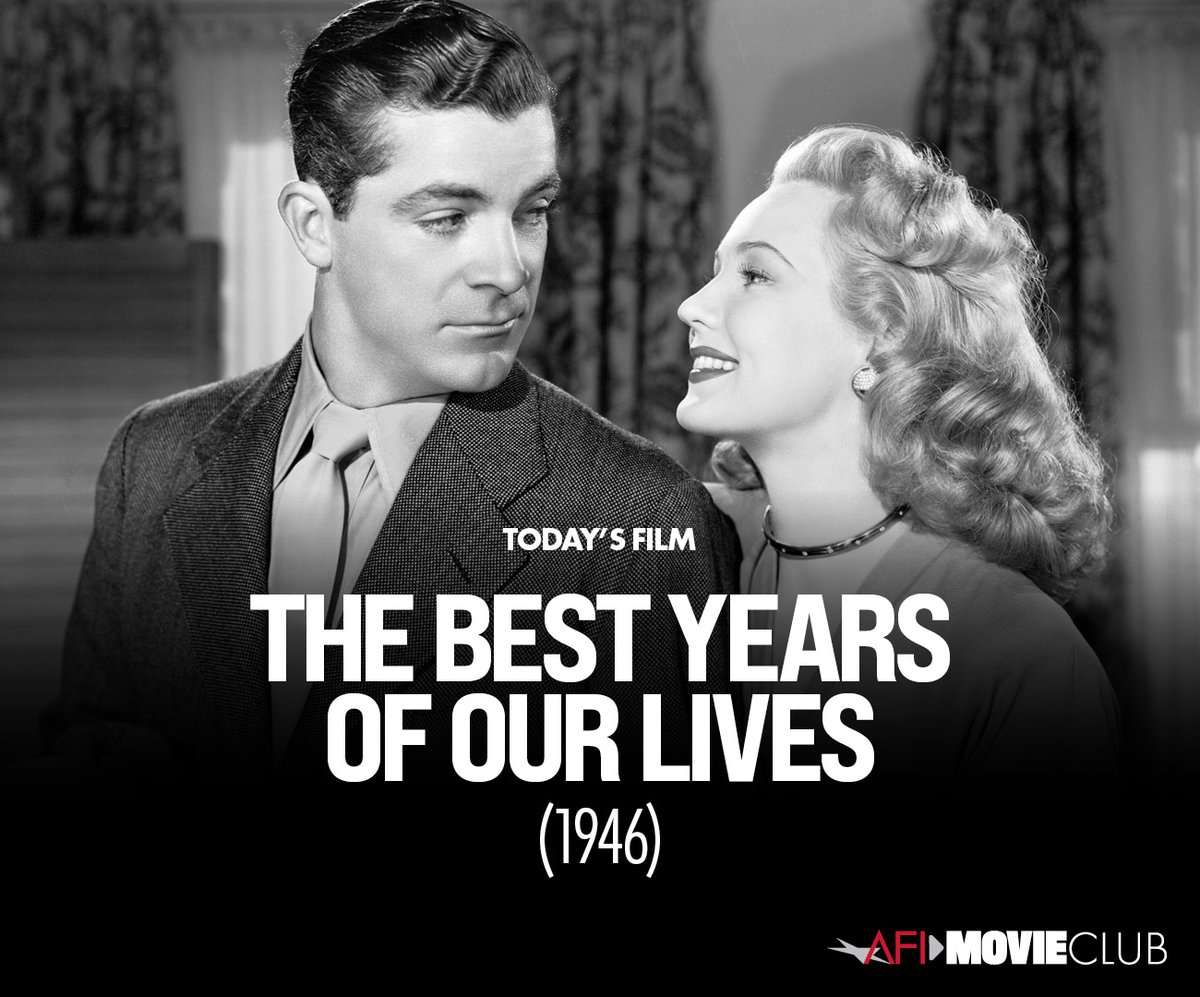 We are honored to show THE BEST YEARS OF OUR LIVES ('46) tonight at 8PM ET with the @AmericanFilm Movie Club. #AFIMovieClub #MemorialDay
