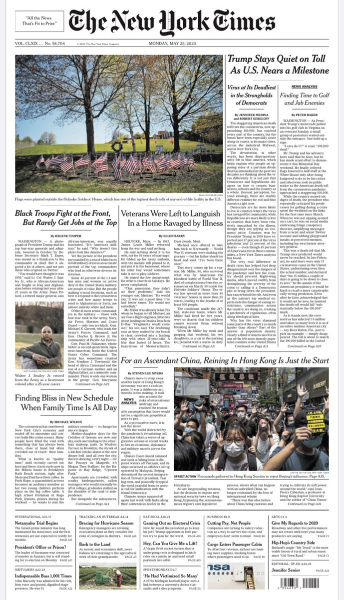 Tomorrow's @nytimes tonight: Trump Stays Quiet on Toll As U.S. Nears a Milestone #nytimes