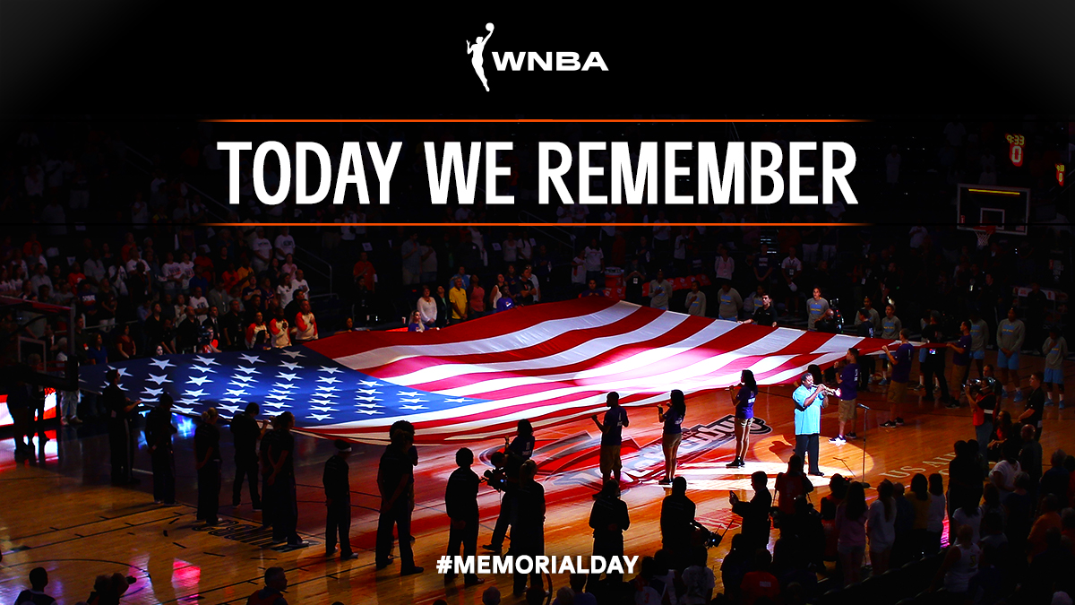This Memorial Day, the #WNBA Family remembers those who have made the ultimate sacrifice in service to their country. #WNBATogether #HoopsForTroops https://t.co/TueosMH2TY