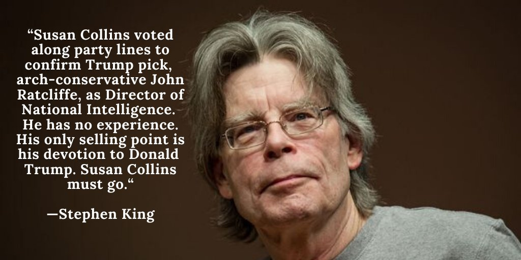 🔥🔥🔥 quote from Stephen King Its time for Susan Collins to go! Support @SaraGideon for US Senate in Maine twitter.com/StephenKing/st…