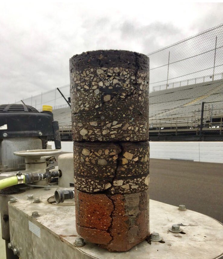 RT @PavementTech: Core sample of the Indianapolis Speedway. 108 years of pavement layers. https://t.co/ksljbmeDsA