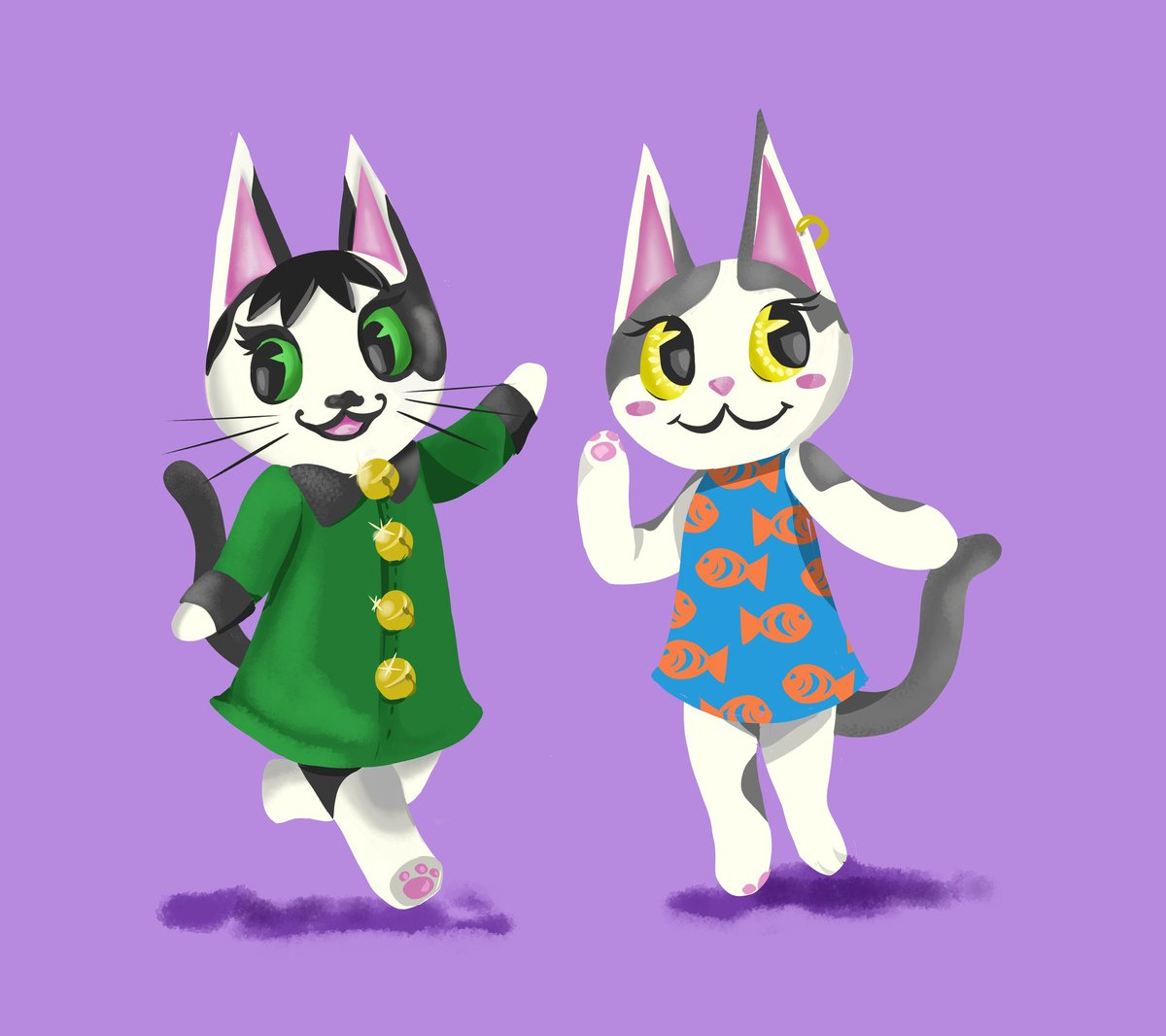 Replying to @julienforts: Leah drew Misty and Cora as #AnimalCrossing villagers!