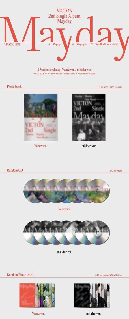 200525 #VICTON 2nd Single ALbum [Mayday]  Venez ver. m'aider ver.  Tracklists: 1) Mayday 2) Mayday (inst) 3) New World (new ver./ CD only)  Ps. ดีใจที่มีแบบ instrumental เพลงจะต้องเพราะมากแน่ๆค่ะ  #빅톤 #VICTON #Mayday <br>http://pic.twitter.com/9T38SFf76x