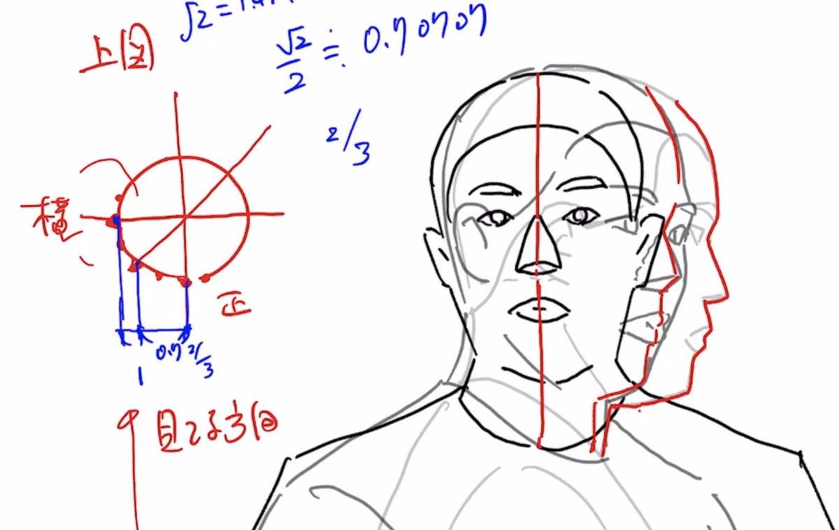 斜め45度をリアルな顔で試してみる!! アニメ、漫画キャラとは全く造形的に違うが理屈がわかるので試して見よう。 正面、横、斜め45度をとり、角度変化を見てみる。 アウトラインを見ると斜めは大分横に近い!! 耳は先行して正面に近い。 だから目と耳は斜めでかなり離れていることになる。