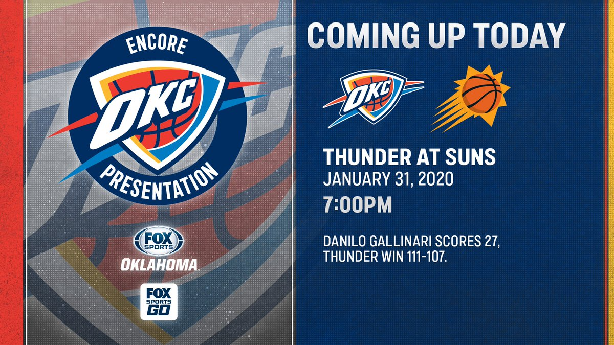 Okay @gallinari8888, we see you 👀🔥  Join us tonight on FOX Sports Oklahoma for the #encore presentation of Danilo Gallinari leading @okcthunder to victory over the Suns in January! #ThunderUp https://t.co/2qf4uJtFDq