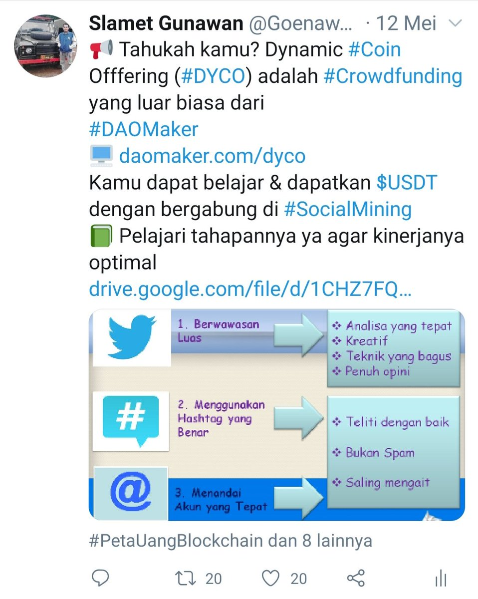 Awesome Clip @soniatiosanto You are true.. There are points how people create quality engagement over quantity..  2 weeks ago I also educate to other How to Improve #SocialMining Performance in #Bahasa #Indonesia   Lets read again  http://drive.google.com/file/d/1CHZ7FQV2KsVfFk2Xos6JFZ6DHZLq0T6i/view?usp=sharing…  https://twitter.com/soniatiosanto/status/1264289397727510529…pic.twitter.com/rbdNz0eG23