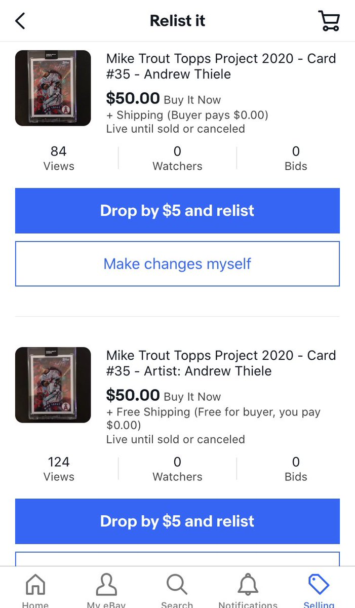 Thanks to the hundreds of people who passed on my auctions last week causing me to end them early and wait to relist. #Topps #project2020 #baseballcards #thehobby I'd be real mad selling those at $50 right now. It somewhat makes up for my mistake on missing Ermsy Trout. Somewhatpic.twitter.com/iv2V7Os9Pt