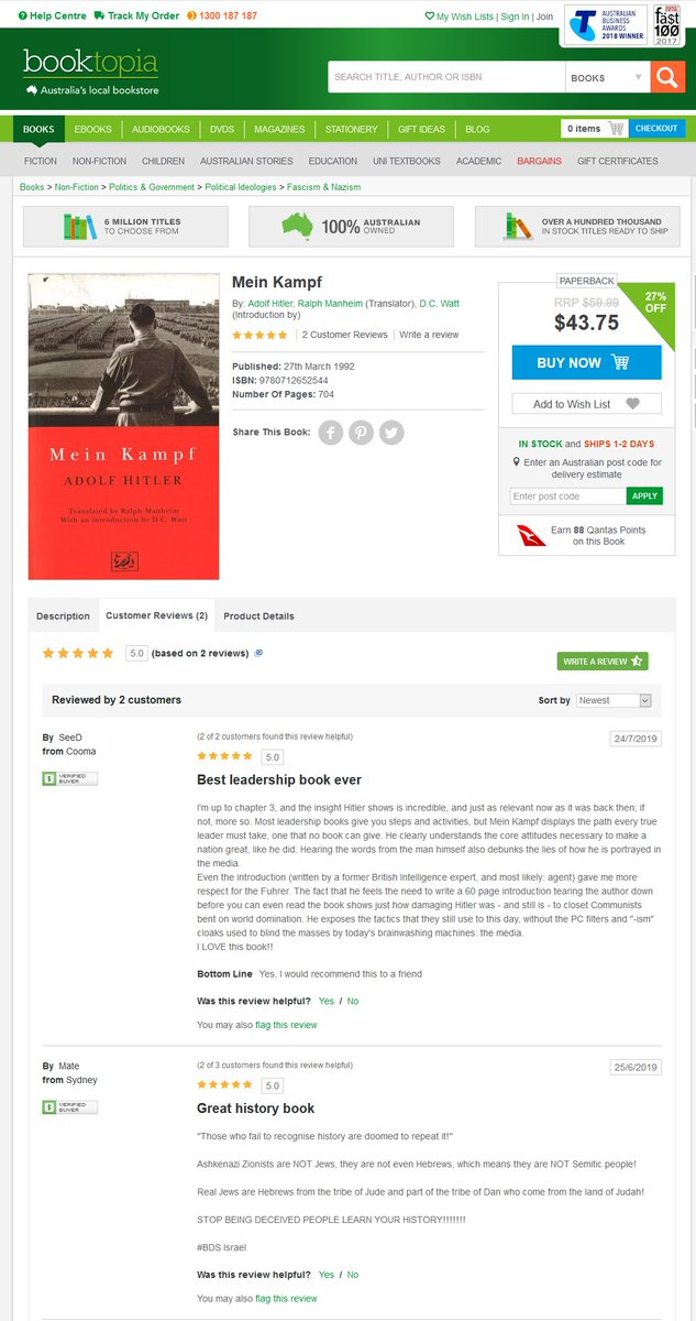 "Saw this listed in the history section and wanted to see what the reviews had to say. It's weird to see such glowing admiration for Hitler in an Australian bookstore, right? Can't help but notice the ""Earn 88 Qantas points"" bit either. #FCKNZS <br>http://pic.twitter.com/zQ0wsZ3n45"