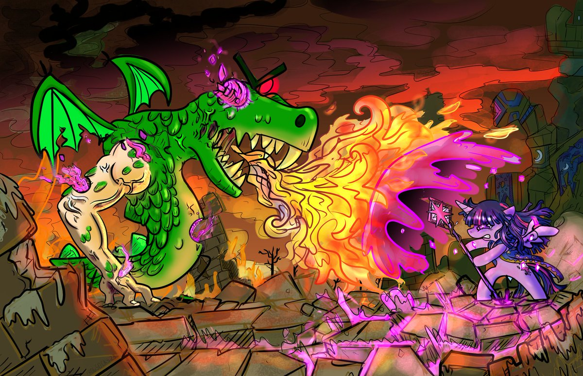 Reupload. Noticed some minor things that needed tweaking. Commission for my Brother-In-Law as part of an ongoing series of Twilight VS Trogdor pieces. Twilight Sparkle vs. Trogdor the Burninator. #digitalart #MLPFiM <br>http://pic.twitter.com/tbh0lX4WUn