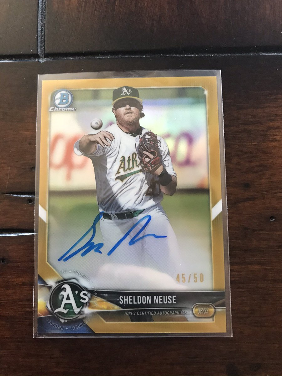 2018 Bowman Chrome Sheldon Neuse Gold Refractor Autograph /50! $60 shipped BMWT @HobbyConnector @OnReplin #baseballcards #Athletics #Oakland #BaseballCardsForSale @collectorconn19 @mlbhobbyconnect @CollectTheGame @Hobby_Connect  RT's Appreciated!pic.twitter.com/pPhpDLWZvk