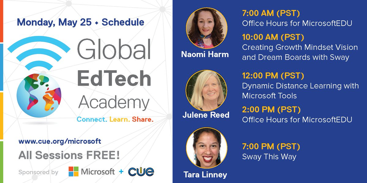 The FREE professional learning continues with tomorrows Global EdTech Academy (#GETA) lineup featuring @julener @naomiharm & @TaraLinney! ->buff.ly/3bRCLRH<- Get ready to create & learn featuring Microsoft Sway and more! #MicrosoftEDU #WeAreCUE #Globaled #edchat #edtech