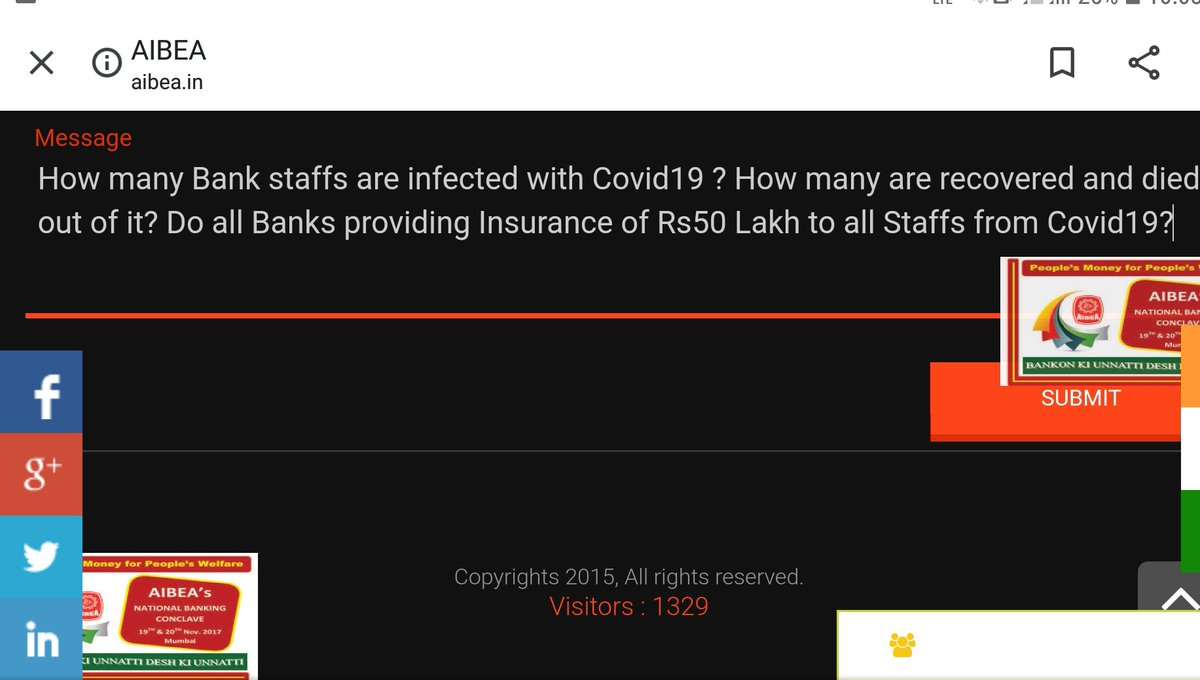"Yesterday I asked AIBEA leaders  ""How many Bank staffs are infected with Covid19 ? How many are recovered and died out of it? Do all Banks providing Insurance of Rs50 Lakh to all Staffs from Covid19?""  No one replied so today asked again from website. Hope they ans on it. <br>http://pic.twitter.com/N5MdRtDAPA"