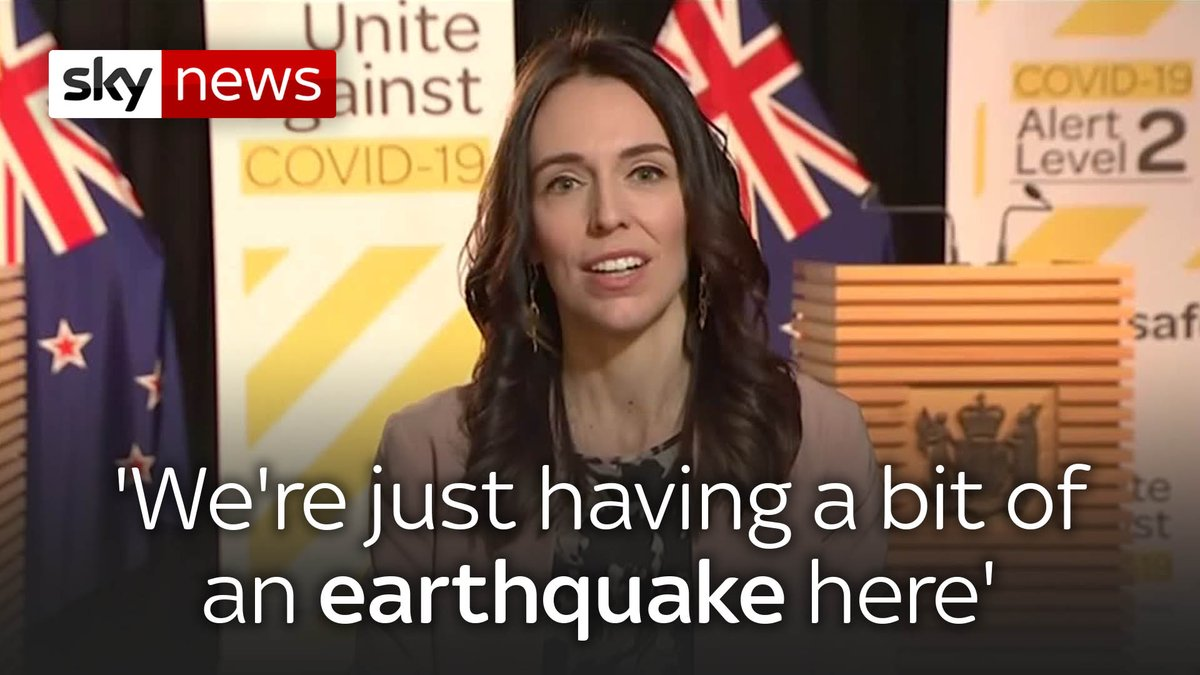 Were just having a bit of an earthquake here. Watch the moment a magnitude 5.8 earthquake hit during a live interview with New Zealands Prime Minister Jacinda Ardern. Read more here: trib.al/fyGRxgV