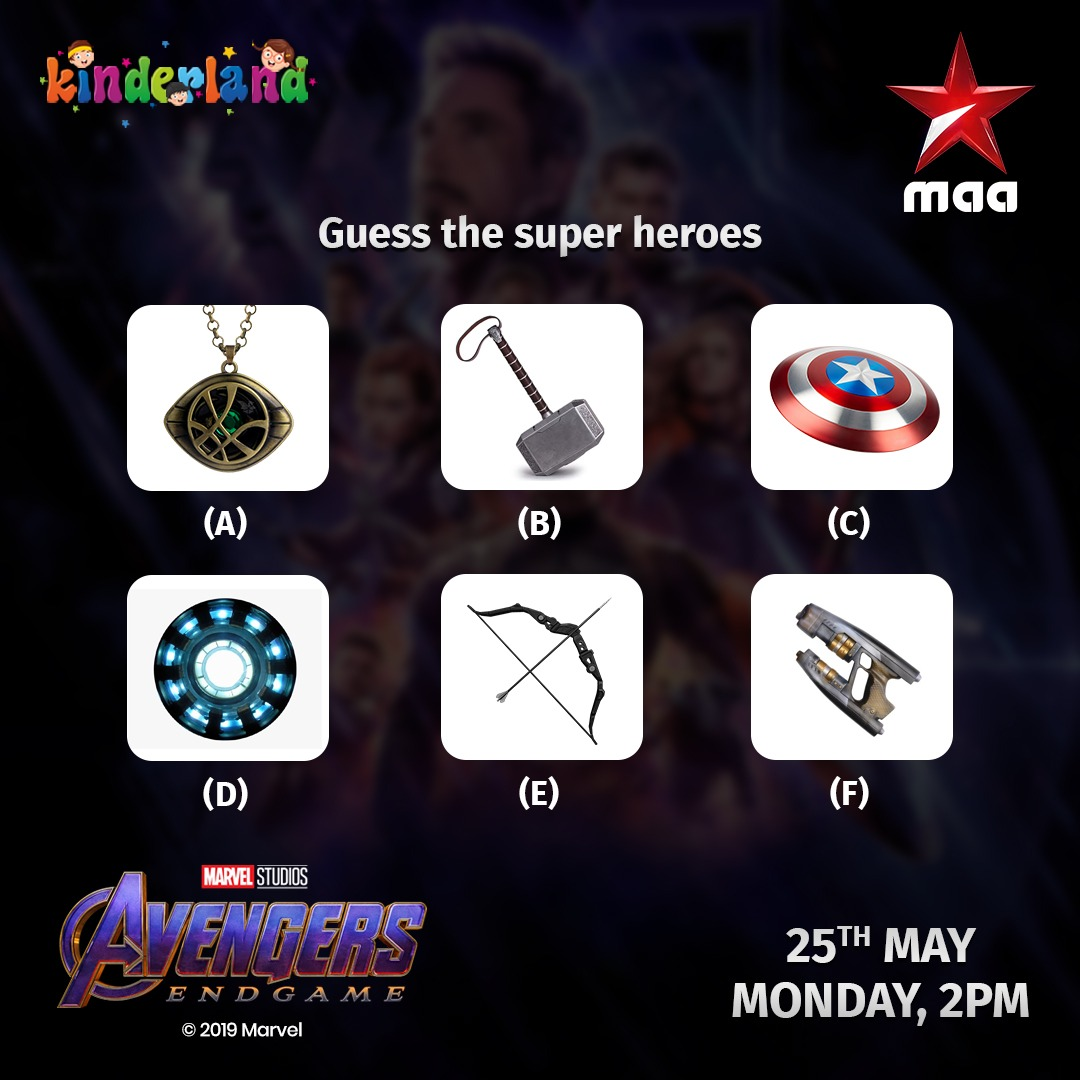 Guess the super heroes by their weapon   Kids special on #Kinderland  #StayHome and Enjoy #AvengersEndGame today at 2 PM on @StarMaa   #StayHomeStaySafe #MaaPrayatnamManaKosam https://t.co/8oz59BEZLz
