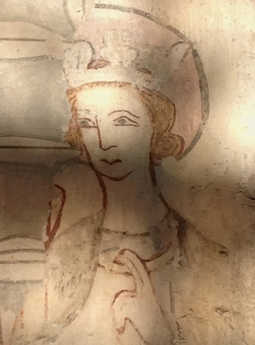 My favourite image of St Edmund, king & martyr. One of the wall paintings discovered in St Mary's church, Lakenheath, Suffolk, only in the 1860s. Dates from around 1350. #medieval #England #History #Churches #MedievalArt