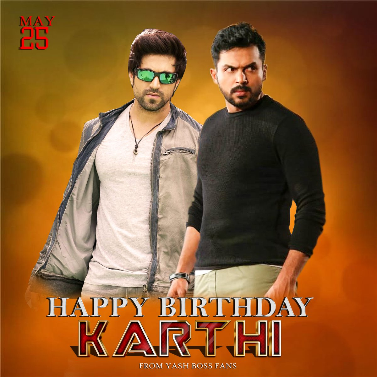 Happy Birthday @Karthi_Offl Behalf Of @TheNameIsYash BOSS Fans...!!  All The Best For Your Upcoming Projects  @Karthi_Offl Sir♥️  #HappyBirthdayKarthi #KGFChapter2 https://t.co/zxz6lW464S