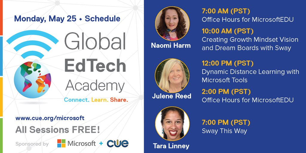 Come join us today to learn and share! #GETA #WeAreCue #MicrosoftEDU @alicekeeler @HollyClarkEdu