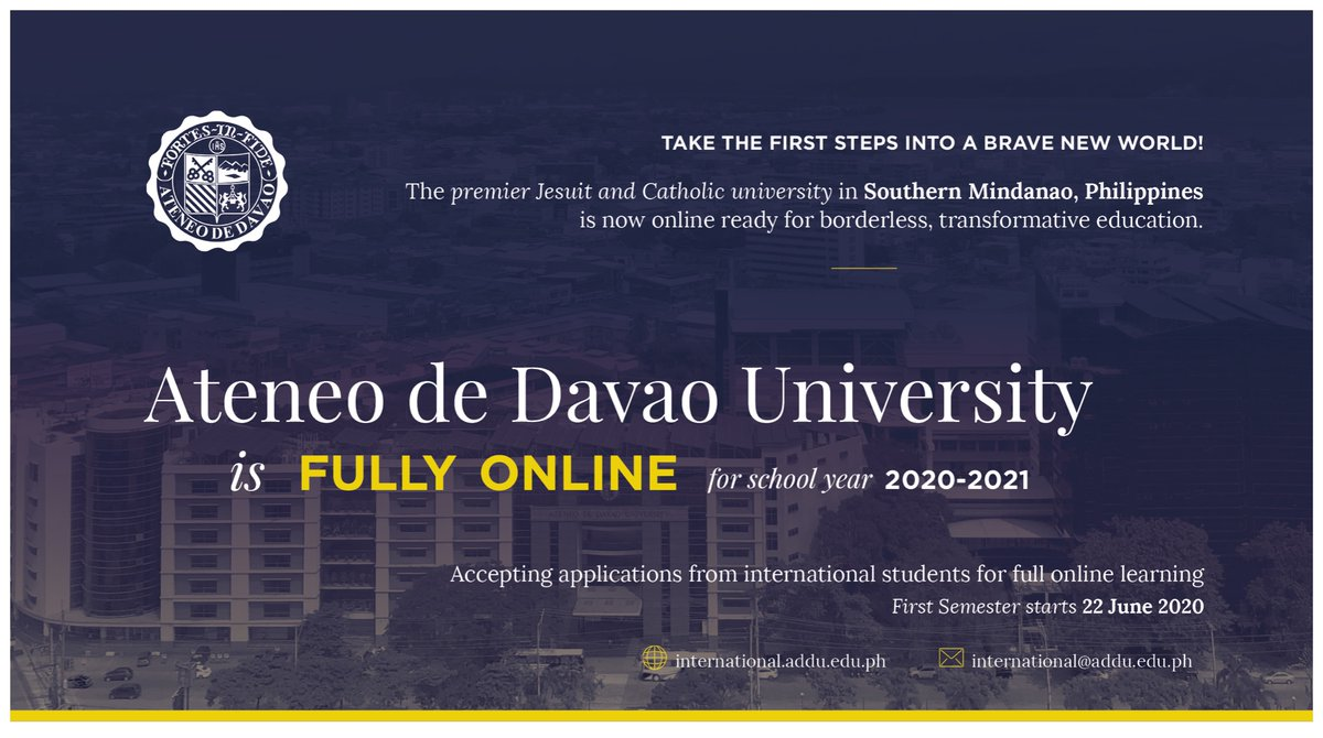 Madayaw!   The Ateneo de Davao University is now fully online for borderless, transformative education!   We are accepting applications from international students for 1st semester of 2020-2021.  To apply, please visit:  http:// international.addu.edu.ph/?page_id=335       #ADDUOnline  #GlobalMindanao<br>http://pic.twitter.com/3j8gumd5sH