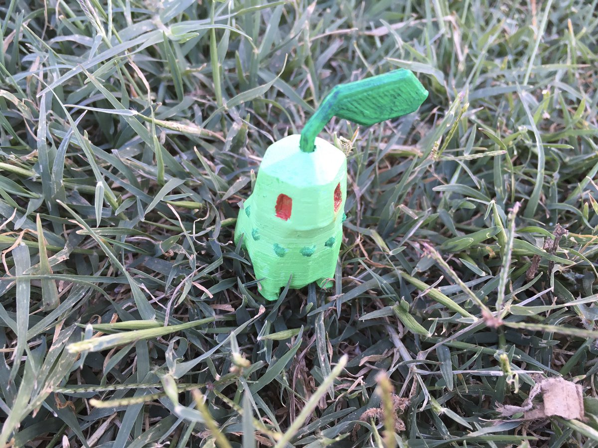 Hand painted low poly chikorita. 3D printed in PLA. - - -  #3dprinting #3dprint #3dprinted #3dprinter  #3dprintable #3dprints #pokemon  #lowpoly