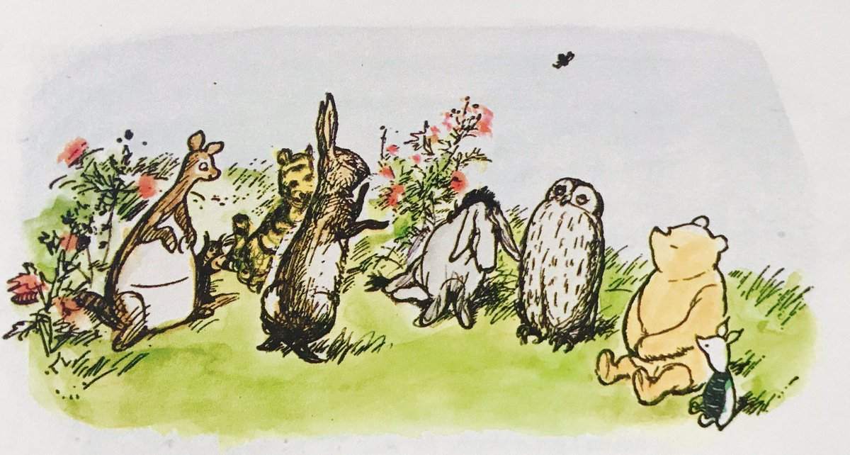 """""""We all know why we're here,"""" said Rabbit. """"I have asked my friend Eeyore to propose a Rissolution. Now then, Eeyore."""" """"Don't Bustle me,"""" said Eeyore, getting up. """"Don't now-then me."""" He coughed in an important way. """"What-nots and Etceteras."""" ~A.A.Milne #mondaythoughts <br>http://pic.twitter.com/ERhPjCIej8"""