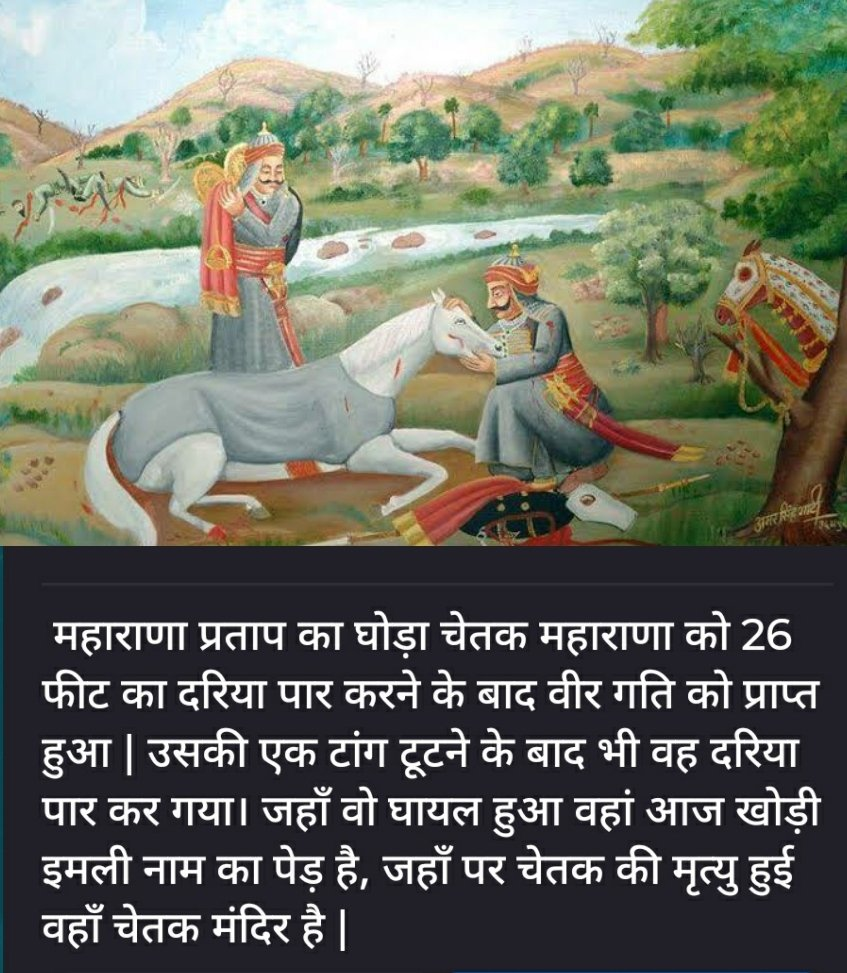 Chetak the horse of Maharana Pratap....Even after breaking one of his legs, he crossed the 26 feet broad river. Today, where he was injured, there is a tree named Khodi emily, where Chetak died, there is Chetak temple. #MaharanaPratapJayanti #महाराणा_प्रताप_जयंती<br>http://pic.twitter.com/3irDxa9WSM