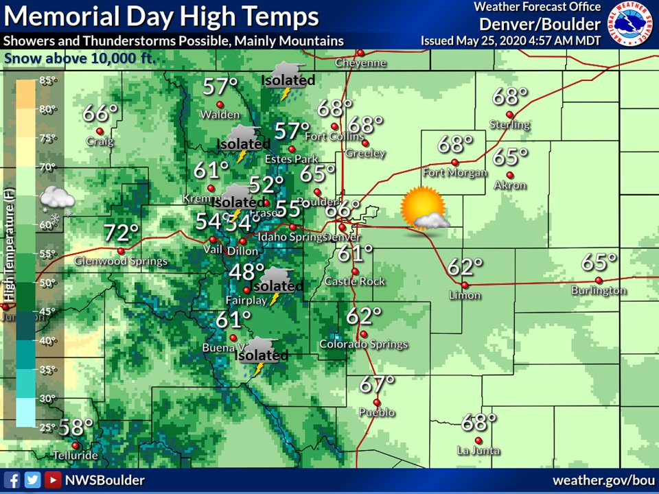 Warmer today with isolated showers and thunderstorms for the higher elevations and for the plains east of I-25.  Light snow above 10,000 ft.  Mostly sunny until afternoon clouds bring the chance of showers. #cowx