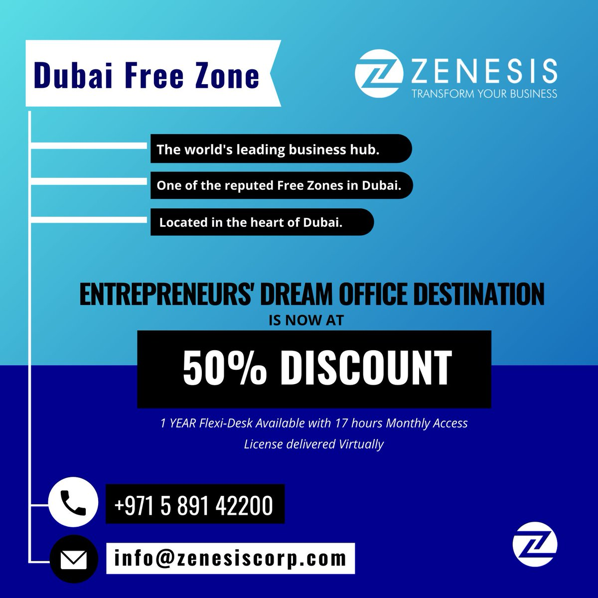 Your DREAM #OFFICE is now at 50% #Discount. Grab the limited seats today!   Contact your Zenesis business set-up experts +971 5 891 42200 l info@zenesiscorp.com  #Zenesiscorp #middleeast #Dubai #Business #Management #clients #jobs #careers #package #license  #positivity #goals https://t.co/0KXiG9gR1V