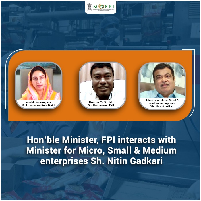 Hon'ble Minister FPI, @HarsimratBadal along with MOS FPI, @Rameswar_Teli interacts  with Hon'ble Minister, MSME @nitin_gadkari via VC to discuss ways and means to develop synergy between the @minmsme & @MOFPI_GOI for the newly launched Scheme on Micro food processing enterprises. https://t.co/i7dOLgs6LQ