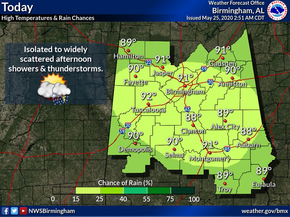 Scattered showers and thunderstorms are possible through the afternoon and early evening...with any activity lingering into the night. High temperatures today will be in the upper 80s to lower 90s. Low temperatures tonight will be in the upper 60s to lower 70s.