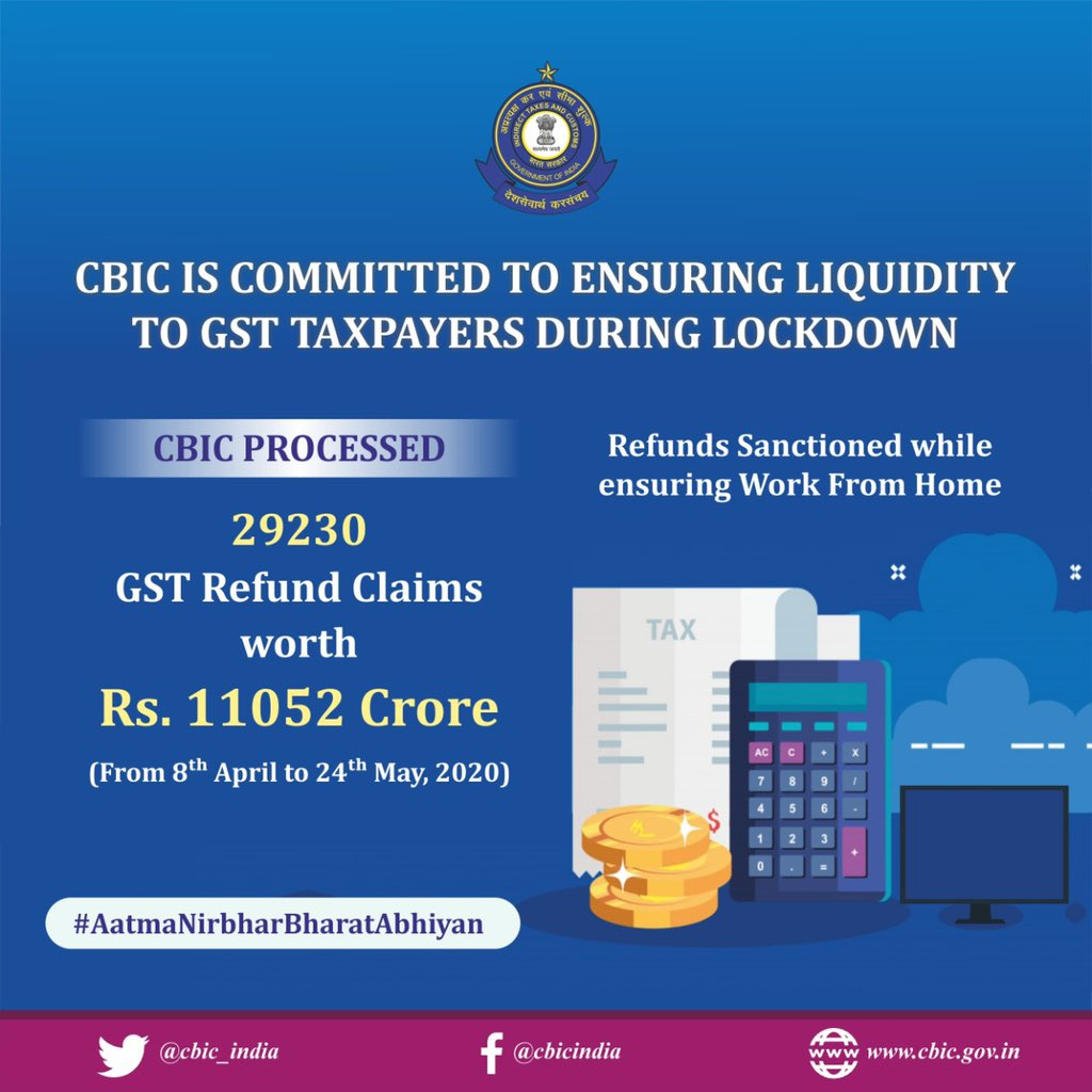 CBIC is committed to ensuring Liquidity to GST Taxpayers especially MSME Sectors during Lockdown.  29230 refund claims amounting to Rs.11052 crores disposed off. #gst #gstrefund @theicai @FinMinIndia @icsi_cs @Infosys_GSTN @IncomeTaxIndia @cbic_india @cbic_indiapic.twitter.com/vUeallMP1H