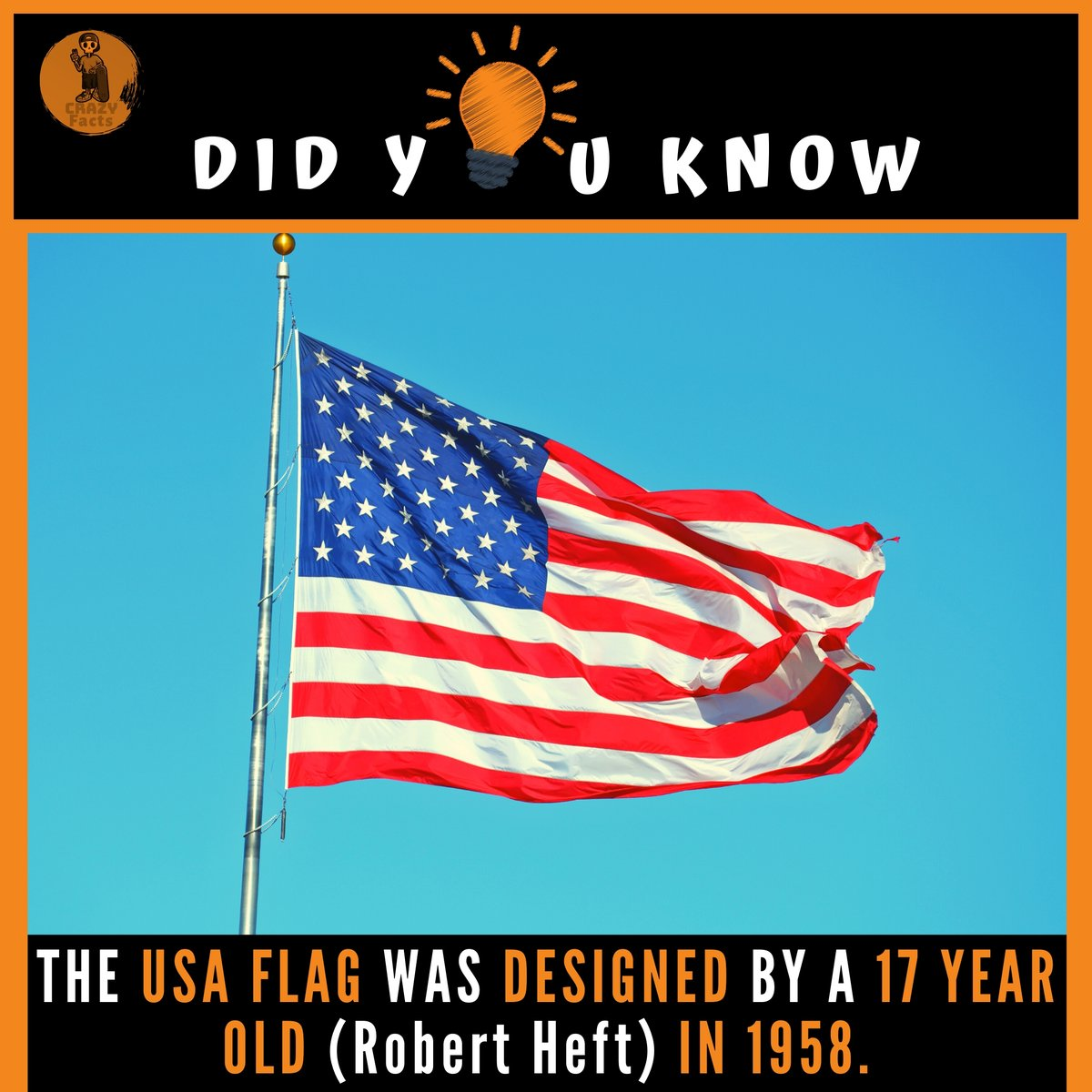 THE USA FLAG WAS DESOGNED BY A 17 YEAR OLD IN 1958.  @CrazyFacts41   #fact #worldgk #wifistudy #factsoflife #coolfacts #worldfacts #instafacts #facts #generalknowledge #didyouknowfacts #knowledgeispower #facts#factsdaily #factoftheday #dailyfacts #thefactsoflifepic.twitter.com/rJlrLGe4Fs