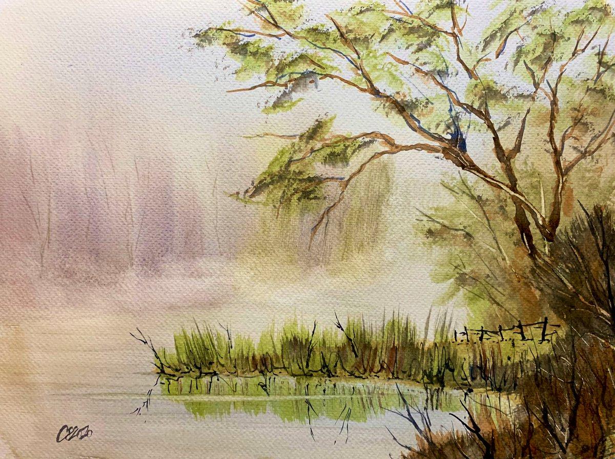 Mist on the River Lea. #watercolour #art #paintingpic.twitter.com/vuz0LxDbjd