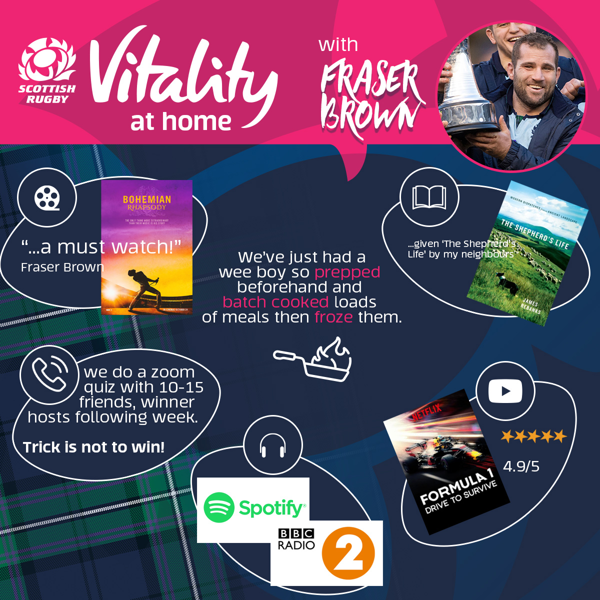 Fraser Brown shares his at home recommendations 🏡 See how Fraser is keeping entertained and connected during this time. For more tips on exercise, nutrition and how to stay positive from a range of sports stars visit @Vitality_UK. . #AsOneAtHome