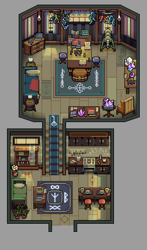 Cozy interiors #2, a late follow up to my first tweet.  The main source of inspiration on these interiors, as you may have noticed, were #Eastwardgame and #StarDewValley   #pixelart #grigoreen  #cozy #artistsontwitter pic.twitter.com/adHrKaKMnE